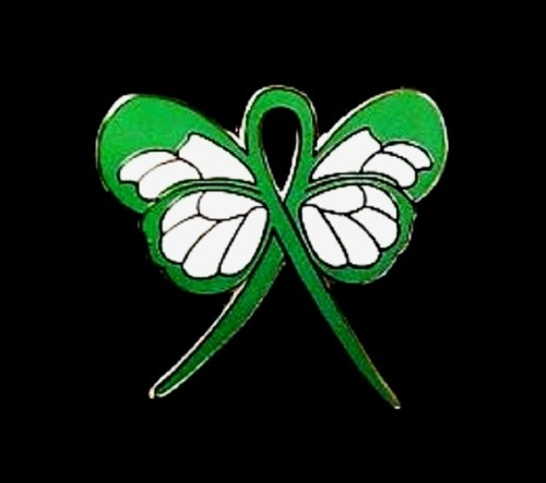 Kidney Disease Lapel Pin Green Awareness Ribbon Butterfly Gold Plated