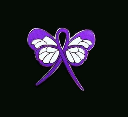 Leiomyosarcoma Lapel Pin Purple Awareness Ribbon Butterfly Silver Plated Lapel Pins Source