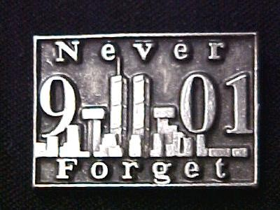 9-11-01 Never Forget Lapel Pin Pewter Twin Tower Terrorist Remembrance Cap Tac