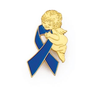 Child Abuse Awareness  Lapel Pin Tac Month is April Guardian Angel Blue Ribbon