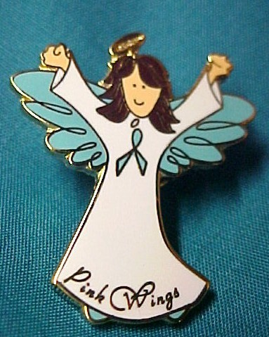 Ovarian Cancer Lapel Pin Awareness Month September Teal Ribbon Brunette Angel Cap Tac