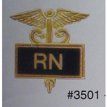 RN Registered Nurse Lapel Pin Nursing Medical Emblem Black Inlaid Caduceus 3501B