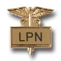 LPN Lapel Pin Licensed Practical Nurse Gold Caduceus Inlaid Medical Nursing 3502G