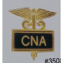 CNA Lapel Pin Certified Nurses Aide Certified Nursing Assistant Black Inlaid Caduceus Medical Insignia 3508B