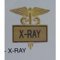 X-RAY X Ray Gold Inlaid Caduceus Medical Emblem Lapel Pin 3510G