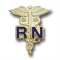 RN Blue Gold Caduceus Registered Nurse Medical Emblem Lapel Pin 801C