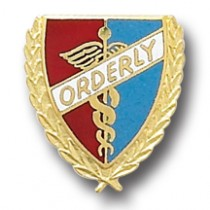 Orderly Lapel Pin Professional Hospital Medical Caduceus Wreath Edge Emblem 990