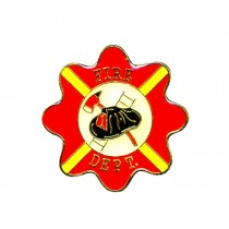 Maltese Cross Lapel Pin Fire Department Fire Fighter Fireman Red Yellow