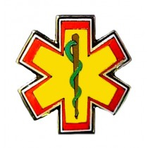 Star Of Life Yellow Lapel Pin Cap Tac Emergency Medical Services EMT EMS