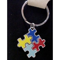 Autism Puzzle Awareness Puzzle Piece Colorful Key Ring Chain Holder