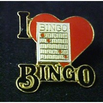 I Love Bingo Lapel Pin Red Heart Black Letters Card Promotional Quality Cap Tac