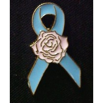 Male Breast Cancer Lapel Pin Awareness Blue Ribbon Pink Rose Hope Cap Tac