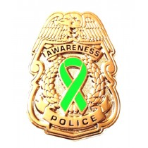 Police Badge Awareness Pin Lime Green Ribbon Officer Sheriff Gold Plated