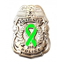 Lymph Node Cancer Pin Police Badge Awareness Lime Green Ribbon Silver