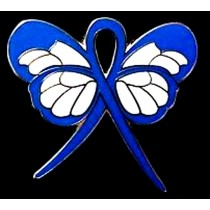Colon Cancer Lapel Pin Blue Awareness Ribbon Butterfly Gold Plated