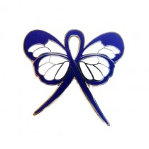 Familial Polyposis Lapel Pin Blue Awareness Ribbon Butterfly