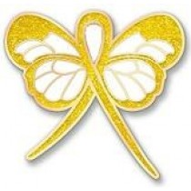 Childhood Cancer Awareness Month is September Gold Bling Ribbon Butterfly Lapel Pin Exclusive