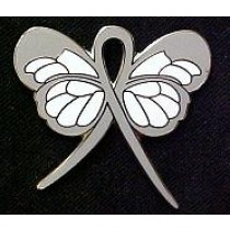 Asthma Awareness Month May Gray Ribbon Butterfly Breathing Disease Lapel Pin
