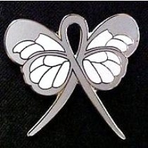 Encephalitis Awareness Month May October Gray Ribbon Butterfly Lapel Pin Exclusive