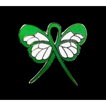 Leukemia Lapel Pin Green Awareness Ribbon Butterfly White Gold Plated
