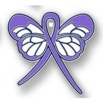 Hodgkin's Disease Awareness Month is September Lavender Ribbon Butterfly Lapel Pin Exclusive