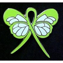 Lyme Disease Awareness Month May Lime Green Ribbon Butterfly Lapel Pin