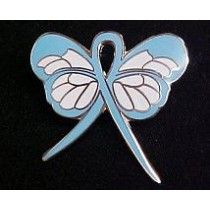 Prostate Cancer Awareness Month is September Light Blue Ribbon Butterfly Lapel Pin Exclusive