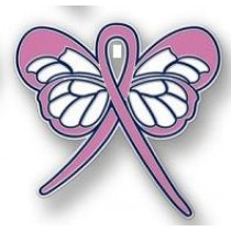 Breast Cancer Awareness Month is October Pale Pink Ribbon Butterfly Lapel Pin Exclusive