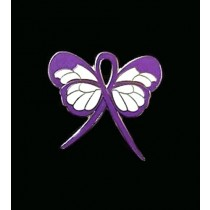 Domestic Violence Lapel Pin Purple Awareness Ribbon Butterfly Silver Plated