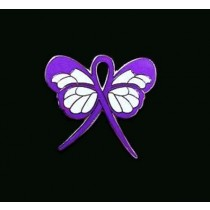 Hodgkin's Disease Lapel Pin Purple Awareness Ribbon Butterfly Silver Plated