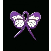 Pancreatic Cancer Lapel Pin Purple Awareness Ribbon Butterfly Silver Plated