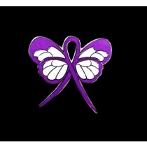 Sarcoidosis Lapel Pin Purple Awareness Ribbon Butterfly Silver Plated