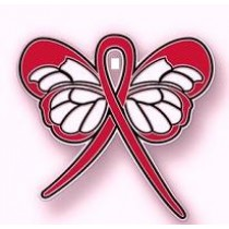 Lymphoma Awareness Month is September Red Ribbon Butterfly Lapel Pin Exclusive
