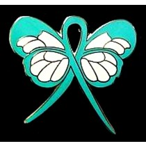 MRSA Lapel Pin Teal Awareness Ribbon Butterfly White Gold Plated