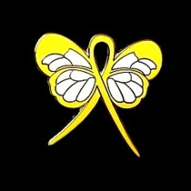 Testicular Cancer Pin Yellow Awareness Ribbon Butterfly