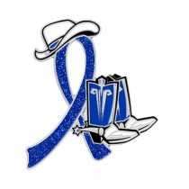Rectal Cancer Awareness Month is March Blue Ribbon Cowboy Cowgirl Boots Hat Lapel Pin