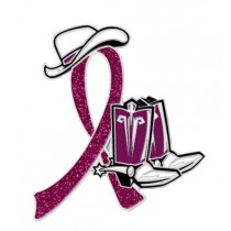 Fibromyalgia Awareness Month is September Burgundy Ribbon Cowboy Cowgirl Boots Hat Lapel Pin