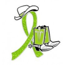 Non Hodgkin's Lymphoma Lapel Pin Lime Green Awareness Ribbon Cowboy Boots Hat