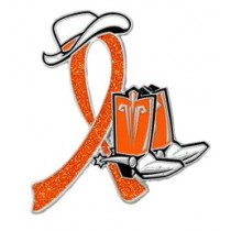 Feral Cats Strays Awareness Month is October Orange Ribbon Cowboy Cowgirl Boots Hat Pin