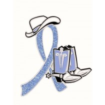 IBS Irritable Bowel Syndrome Awareness Month is April Periwinkle Blue Ribbon Cowboy Cowgirl Boots Hat Lapel Pin