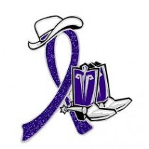 Hodgkin's Disease Awareness Month September Purple Ribbon Cowboy Cowgirl Boots Hat Lapel Pin