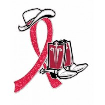 Lymphoma Awareness Month is September Red Ribbon Cowboy Cowgirl Boots Hat Lapel Pin
