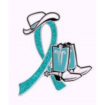 Polycystic Ovarian Syndrome Awareness Month is September Glitter Teal Ribbon Cowboy Cowgirl Boots Hat Lapel Pin