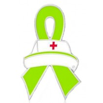 Sandhoff Disease Lapel Pin Lime Green Awareness Ribbon Nurse Cap Nursing