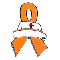 Racial Tolerance Awareness Lapel Pin Orange Ribbon Nurse Cap Nursing