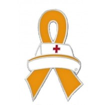 Feral Cats Awareness Lapel Pin Nursing Orange Ribbon Nurse Cap Red Cross
