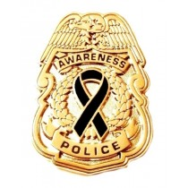 Black Awareness Ribbon Lapel Pin Police Badge Officer Sheriff Gold Plated