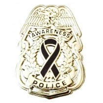 Black Awareness Ribbon Lapel Pin Police Badge Officer Sheriff Silver