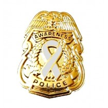 Gray Awareness Ribbon Lapel Pin Police Badge Officer Sheriff Gold Plated