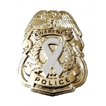 Mental Illness Awareness Pin Gray Ribbon Police Badge Officer Sheriff Cop Causes Silver